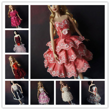 Lot 15 Items = 5 Pcs Fashion Handmade Dresses & Clothes 5 pairs Shoes 5 hangers For Barbie Doll(China)