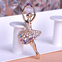 Blucome Whole Sale 40% Off Dancing Ballet Girls Brooches For Women Hats Suits Gold-color Corsages Diy Colorful Crystal Brooch(China)