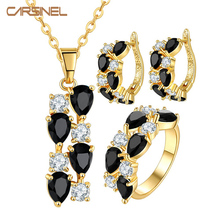 CARSINEL Fashion New Style Gold-color Jewelry Set CZ Black Zircon Pendant/Earrings/Ring for Women Wedding Jewelry Sets JS0108