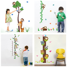 cute monkey tree rattan height measure wall stickers for kids rooms home decor cartoon animal growth chart wall decals pvc mural(China)