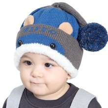0-3T Baby Cute Hippo Plus Velvet Children Hat For Autumn Winter Baby Ball Cap Baby Ear Caps Warm Hats(China)