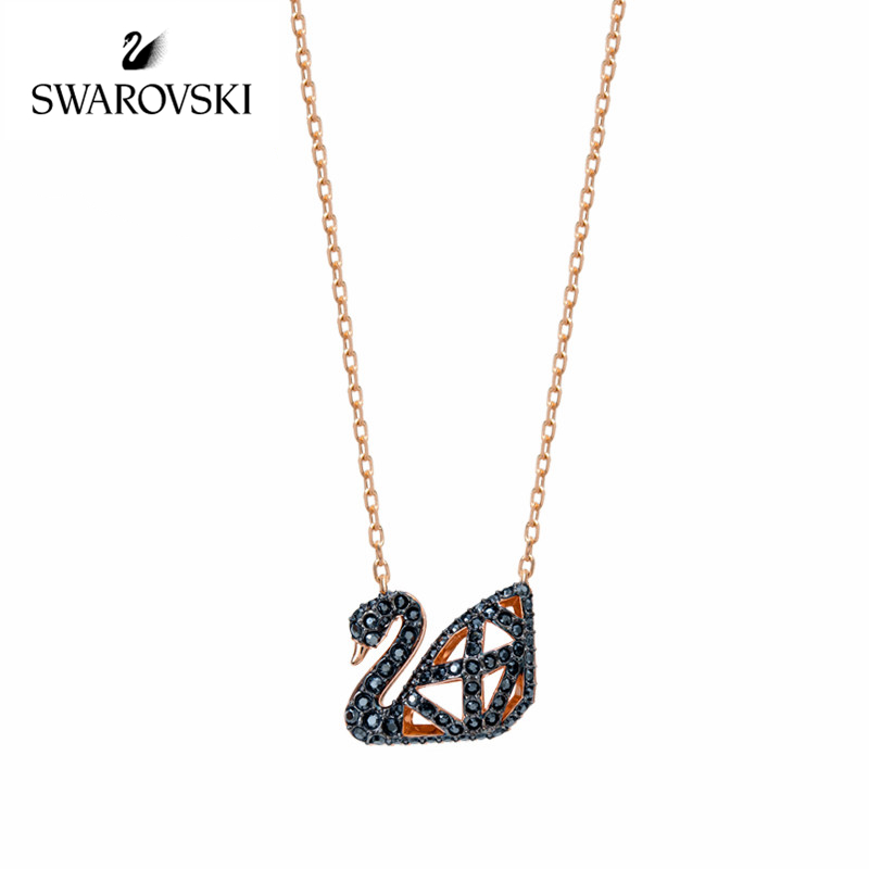 Genuine Swarovski Double flour Hollow Black Swan Necklace Bone Chain Female Crystal Jewelry 5281275