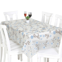 RUBIHOME Square PVC Tablecloth Printed Blue Flower Rose Floral Yellow Pink Design Table Cover Waterproof Home Decorative