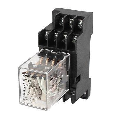 MY4J-AC110V Coil 5A Electromagnetic Relay 14-Pin 4PDT 4 NO 4 NC w Base Socket<br><br>Aliexpress