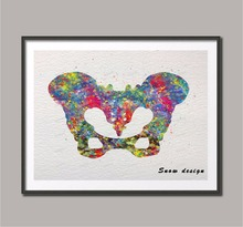 Original Watercolor Human pelvis wall art canvas painting pelvis bone hip anatomy poster print Picture home decor Christmas gift(China)