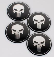 4pcs Cool Beard Skull Heard car sticker 56.5mm Aluminum Alloy wheel Hub cover Badge Emblem label Decals Symbol fit for Brand Car(China)