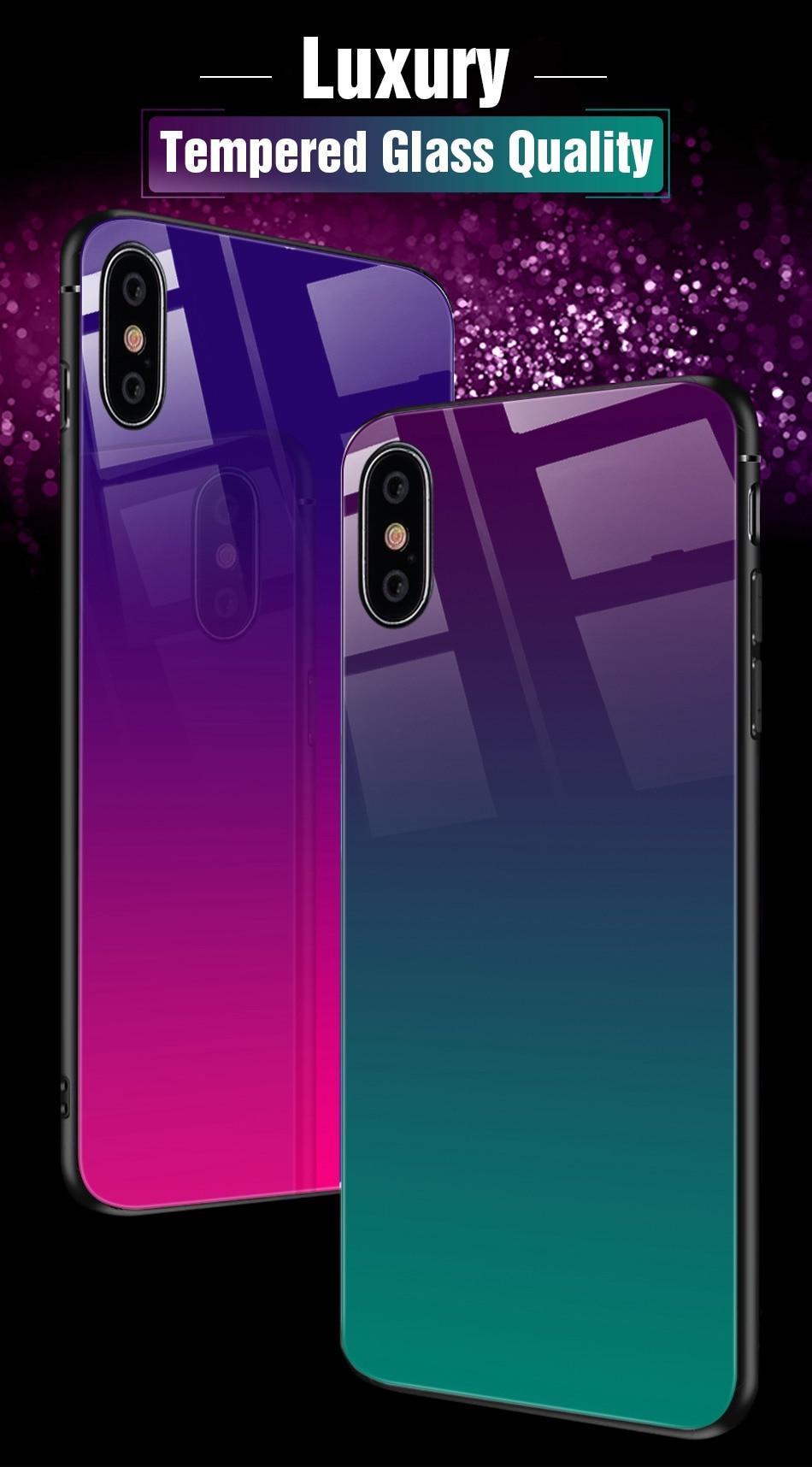 iPhone X Xr Xs Max豪华硅胶手机壳适用于iPhone 6的iPhone 7 8 Plus手机壳适用于iPhone 6 6S Coque的渐变钢化玻璃保护套(2)