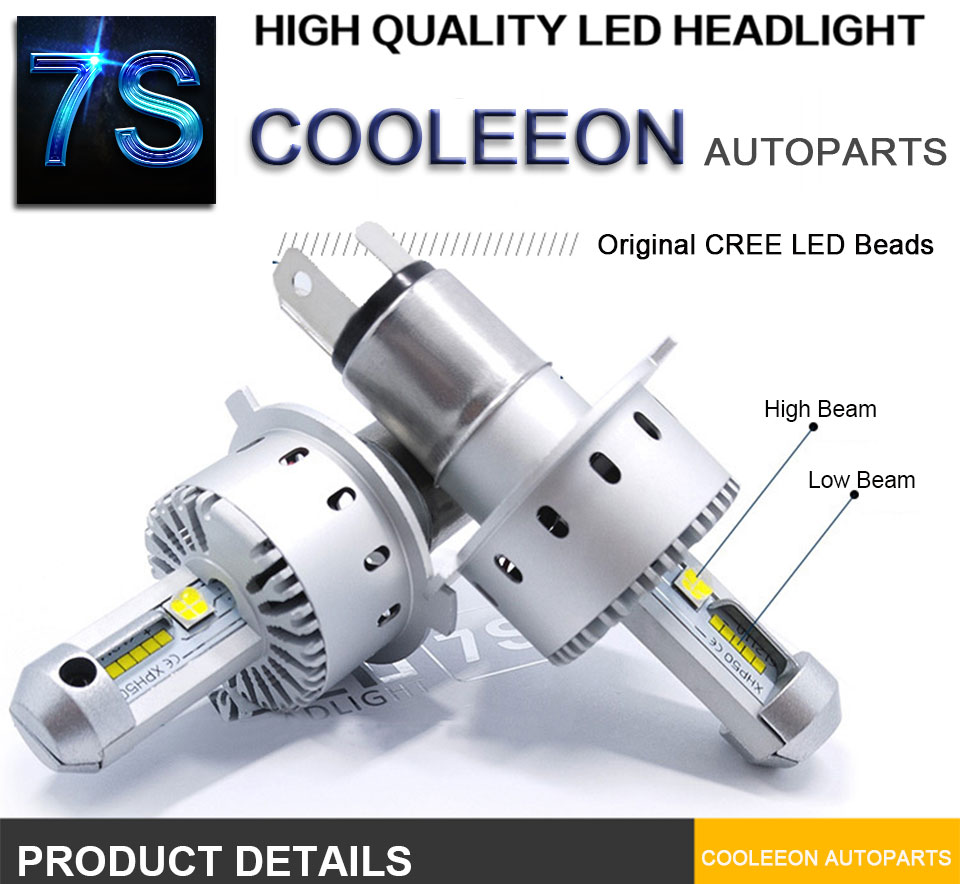 COOLEEON LED Car Lights H1 H4 H7 H11 9005 9006 Auto Headlamp Bulbs 12V 24V Cars Headlights 80W CREE LED Chips 6000K White Lamp (1)