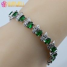 925 Sterling Silver AAA+ Quality Green Created Emerald Bracelet Health Fashion  Jewelry For Women Free Jewelry Box SL89