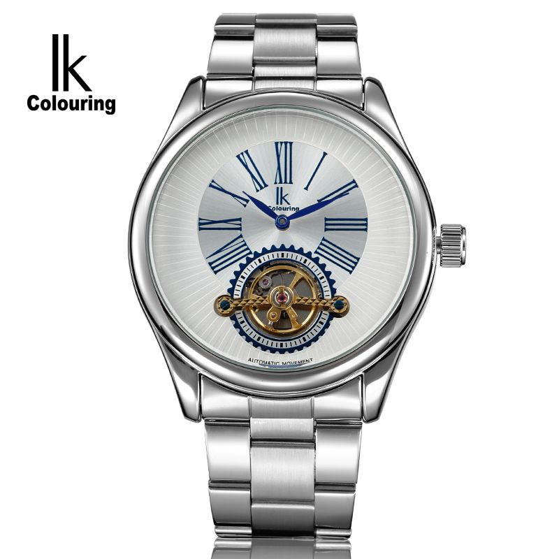 IK Luxury Mens Erkek Kol Saati Tourbillion Auto Mechanical Watch Wristwatch Gift Box Free Ship<br>