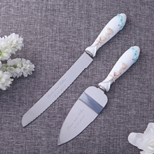 Personalized Wedding Cake Knife Serving Set,Stainless Steel Party Cake Accessory,Customized Wedding Gift With Box,Beach Theme(China)