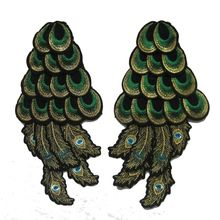 2 Pcs Green Peacock Wings Wild Animal Feather Lady Rider Biker Tatoo Jacket Patch Sew on Embroidered Applique Sign Badge Costume(China)