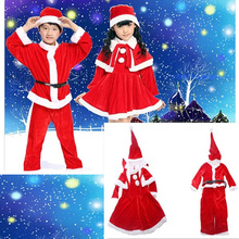 1pc/lot Fancy Red Pleuche Christmas Skirt Hat Baby XMAS Show Costume Santa Clause Childrens Outfits JK673204