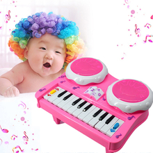 Baby Musical Instrument Toy Educational LED Light Piano Developmental Music Drum Toy Kids Kids Music Toys Gift Pink FCI#