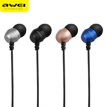Original AWEI ES Q8 Super Deep Stereo Earphones Nylon Wired Heads In-ear Metal Earphone for Phone MP3 Players 3.5mm Jack Headset