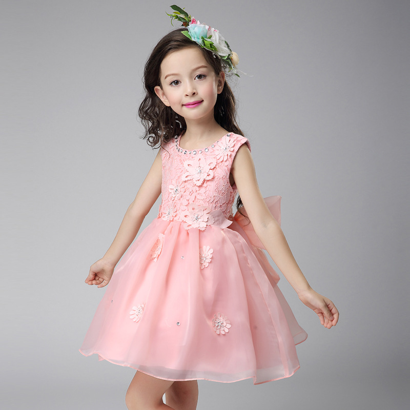 2017 Korean Toddler Girls Summer Spring Mesh Lace Princess O-neck Sleeveless Ball Gown Fashion Wedding Show Stage Formal Dress<br><br>Aliexpress