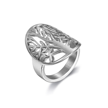 Gothic 316L Stainless Steel Silver White Beautiful tree of life ring hollow fashion unique design Women Men's unisex cute gift(China)