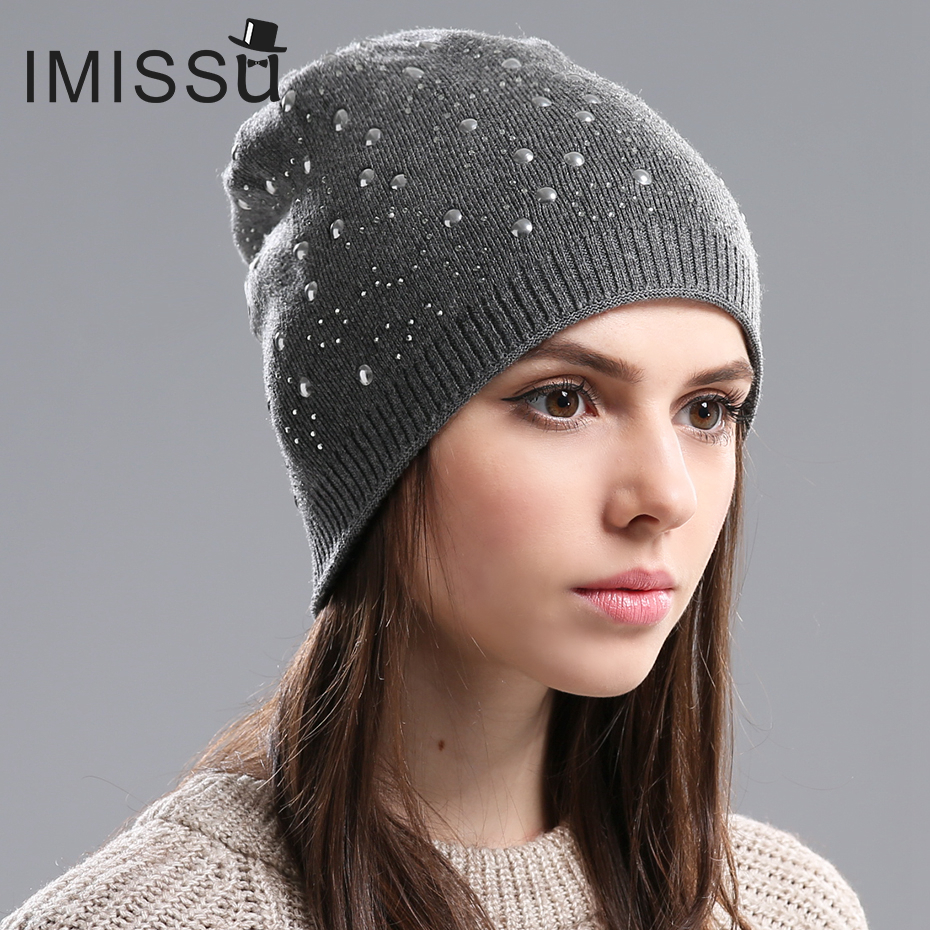 IMISSU Womens Winter Hats Knitted Wool Skullies Casual Beanie Female Fashion Outdoor Ski Caps Thick Warm Hats for WomenОдежда и ак�е��уары<br><br><br>Aliexpress
