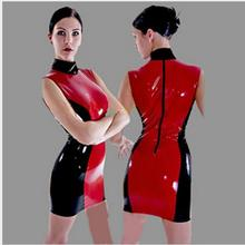Buy S-XXL Sexy Stretch 100% PVC Bodysuit Mini Dress Vintage Leather Latex Catsuit Wetlook Clothes Clubwear Costume China Qipao Style