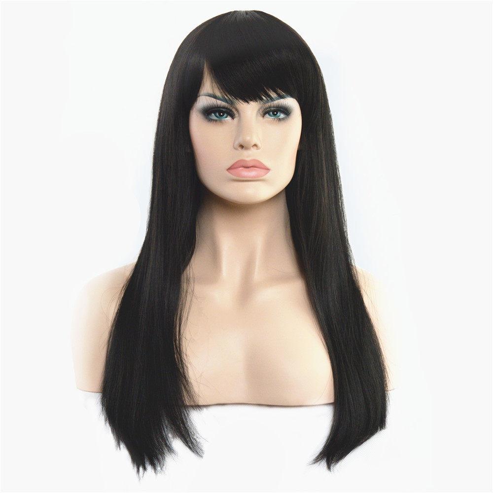 Women Fashion Natural Black Silk Straight Long wig 24 inch Synthesis Full Wig Free shipping<br><br>Aliexpress