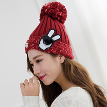 Novel Design Winter Hats with Pearl and Rabbit Ear Tag Mixed Color Yarn Balls Caps for Women Lady Girls(China)