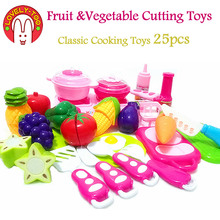 Lovely Too 25pcs Plastic Fruit Cutting Toys kid's Kitchen Cooking Play Food Seeds Of Vegetables Pretend Tiny Toy For Girls