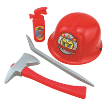 Fireman Costume Firefighter Role Play Boys Toy Hat Axe Crowbar Fire Extinguisher Set(China)