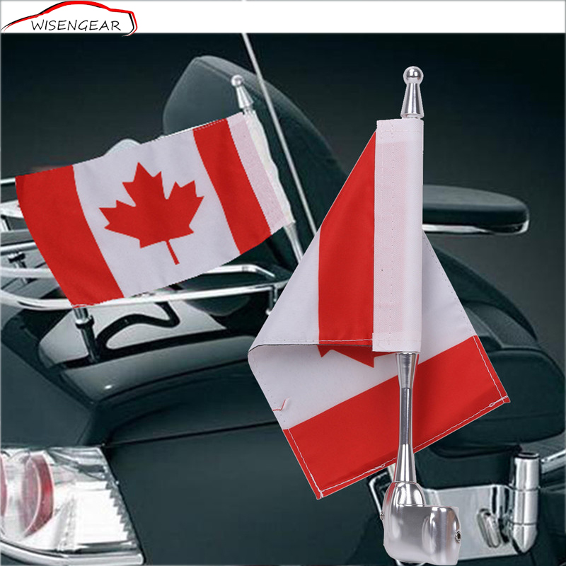 WISENGEAR Motorcycle Flag Pole Mount Canada Flag Lugger Rack For Honda Goldwing Yamaha Harley Davidson Motorbike Accessories C/5<br>
