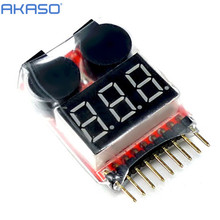 1-8S 2in1 Lipo Battery LED Voltage Meter Tester Alarm + Register free shipping