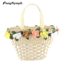 Women's Straw Knitted Handbag Colorful Flower Decoration Beach Bags With Carrying Handle Design Fresh and casual
