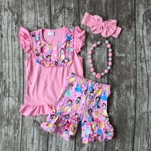 baby girls Summer clothing princess print cotton outfits children pink ruffle shorts clothes kids outfits with accessories