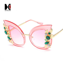 SHAUNA Oversize Luxury Crystal Decoration Women Cat Eye Sunglasses Spring Hinges Fashion Ladies Gradient Lens Eyeglasses
