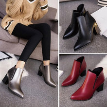 2017 Spring Women Shoes Chelsea Boots PU Buckle Ankle Black Bottom Boots Cheap China Female Sliver Boots Red Woman Shoes SFCB002