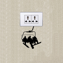 Fun Ski Cable Ride Up The Mountain Vinyl Wall Stickers Light Switch Decal 5WS0894(China)