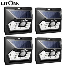 Litom 4PCS Mini 10 LED Solar Lighting Motion Sensor Outdoor Wall Waterproof Night Lampion Garden Path Patio Wide Range Light Hot
