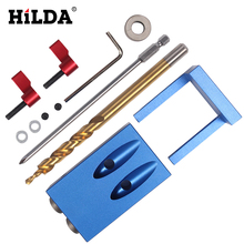 HILDA Pocket Hole Jig Kit System For Wood Working & Joinery + Step Drill Bit & Accessories Wood Work Tool Sets Bits Kits(China)