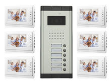 Apartment Wired Video Door Phone Audio Visual Intercom Entry System 6 Unit