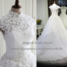 2016 Medieval Real Wedding Dress Photo High Collar Cap Sleeve Ball Gowns Flowers Beaded Lace Bridal Dresses Chapel Train W3238