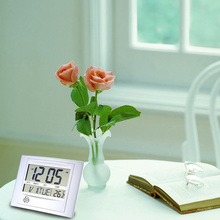 Wireless Digital Wall Clock Indoor Temperature Electric Desk Clock Easy-reading Big LCD Display Thermometer Weather Station
