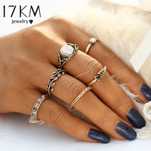 17KM Retro Style Vintage Leaf Boho Jewelry Unique Carving Tibetan Gold Color Rings for Woman 6PCS/Set Punk Opal Ring Sets(China)