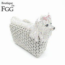 Gift Box 9 Colors Ladies Clutch Evening Bags Womens Pink Crystal Pet Dog Handbag Wedding Diamond Clutches Purses Rhinestones Bag