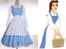 Beauty and The Beast Princess Belle Blue Maid Dress Coplay Costume Custome Made Free Shipping