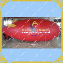 Free Shiping 6m/20ft Long Red Inflatable Airship Blimp Zeppelin with your LOGO for Different Events Digital printing