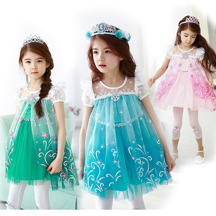 New 2016 Custom Anna Elsa Girls Princess Children Summer  Kids Dress Cloth Party Vestidos Infants Dress Baby Dresses<br>