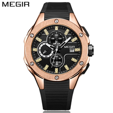 MEGIR New Brand Quartz Watches Men Top Quality Chronograph Functions Watch Original Style Life Waterproof Silicone Casual Clock(China)