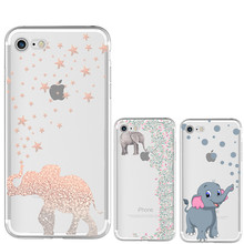 Most popular Elephant pattern Silicone Soft TPU Case for iPhone 7 4 4S 5 5S SE 5C 6 6S Plus X 8 Anti falling mobile phone cove