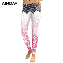 Buy AINDAV Women Legging Yoga Pants Mandala Flower 3D Digital Printing Slim Pink Fitness Workout Running Tights Compression Trousers for $8.26 in AliExpress store