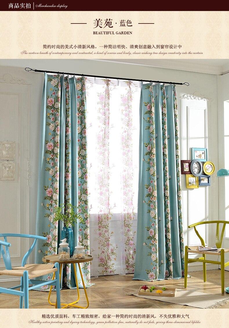 campo pastoral americana de lujo gran flor dormitorio sala de estar cortinas de encargo ventanas y ventanales de hilo tejido