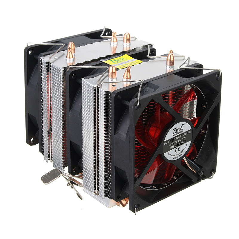 Three CPU Cooler Fan 4 Copper Pipe Cooling Fan Red LED Aluminum Heatsink for Intel LGA775 / 1156/1155 AMD AM2 / AM2 + / AM3 ED<br>