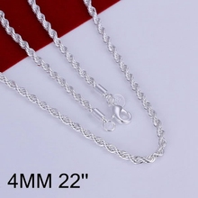 fashion jewelry Necklace pendants Chains, 925 jewelry silver plated necklace Shine Twisted Line 4mm 22 inches Necklace oemi jftw